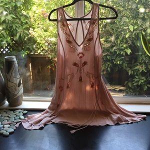 Free People blush floral tank/dress size M